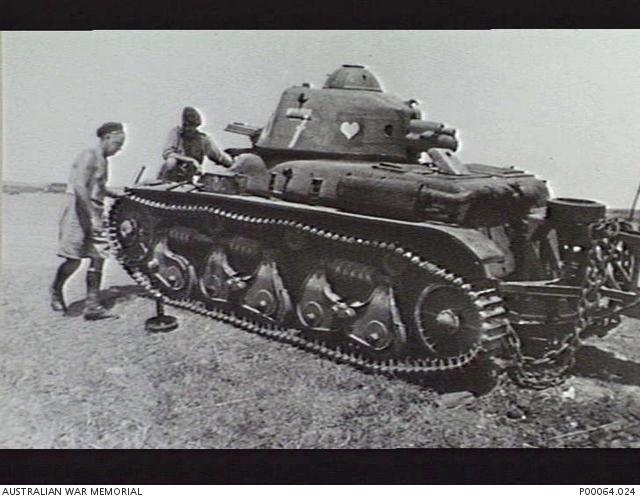 SYRIA. C.1941. CAPTURED FRENCH RENAULT R-35 LIGHT TANK REPAIRED AND SUBSEQUENTLY USED IN COMBAT BY THE ALLIES. (Small).JPG