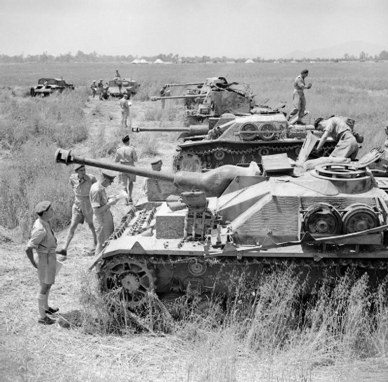 British_troops_inspect_a_line-up_of_captured_German_and_Italian_armoured_fighting_vehicles,_Italy,_2_June_1944__NA15779.jpg