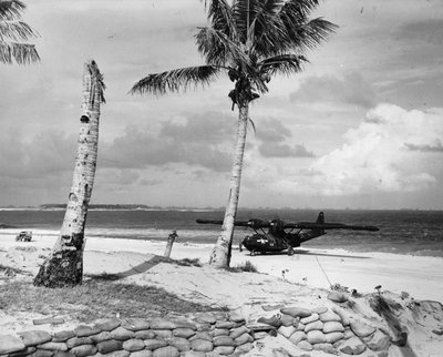 PBY Catalina on the beach at Ulithi Atoll, 1945.jpg