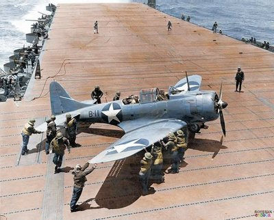 Douglas SBD Dauntless aboard USS Hornet. Battle of Midway 1942.jpg