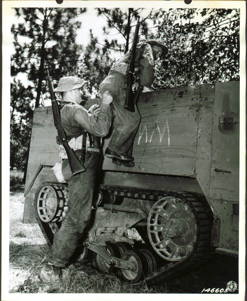 T3 Shumpert helps Pvt Driver in half-track LA 8x10 1942.jpg
