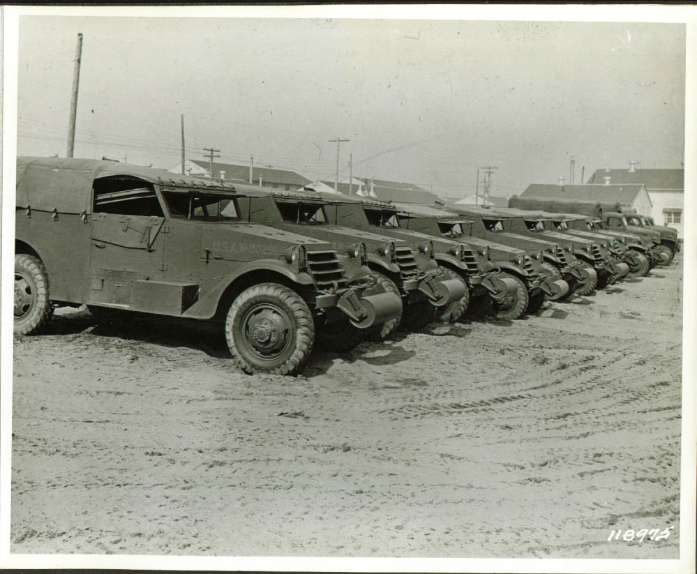 4th Armored Combat Car line-up Pine Camp NY 8x10 1941.jpg