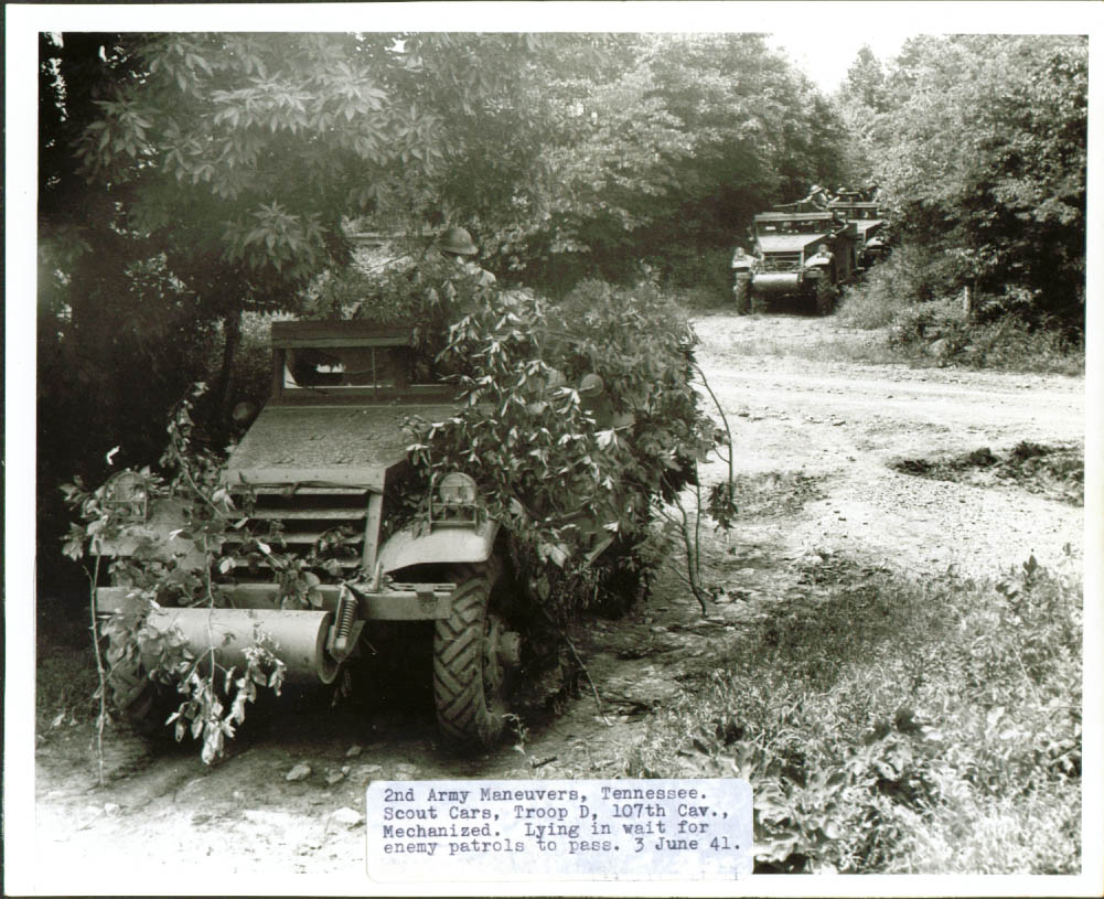 107th Cav Camouflaged Scout Cars Tennessee 8x10 1941.jpg