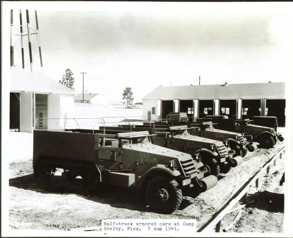 Half-track Armored Cars Camp Shelby MS 8x10 1941.jpg