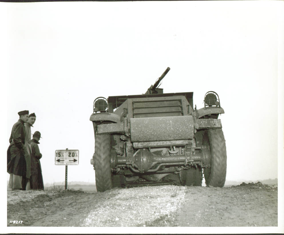 Armored Scout Car crests hill Aberdeen MD 8x10 1941.jpg