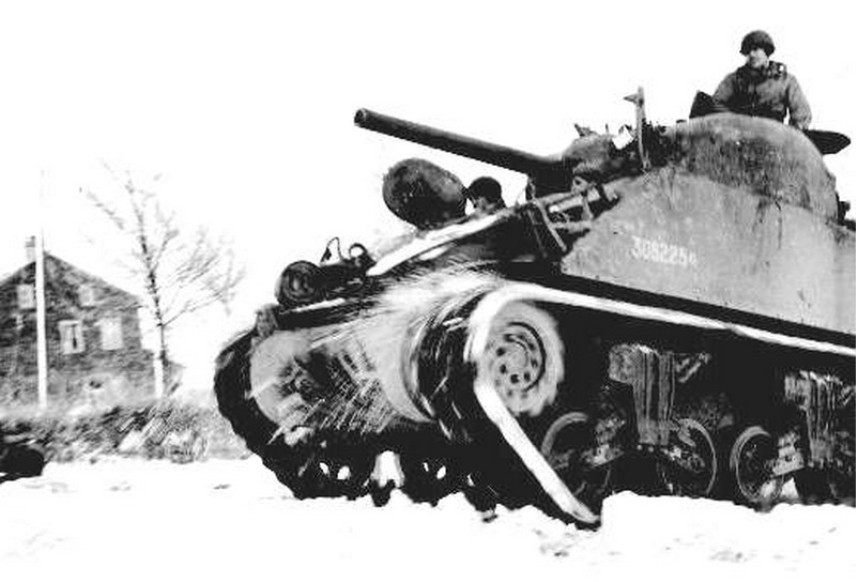 US Army Sherman Tank in the snow, Battle of Bulge, WWII.jpg