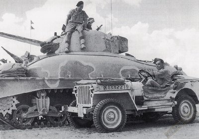 British Army Sherman M4A and jeep..jpg