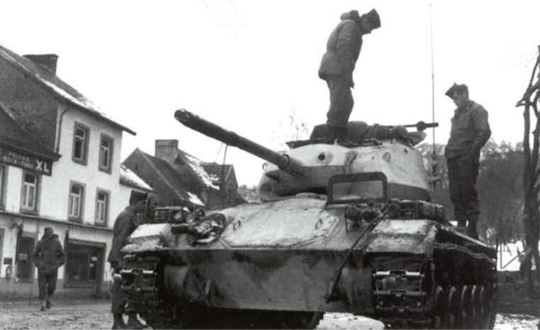 US Army M-24 Chaffee light tank in the battle of Bulge, WWII.jpg