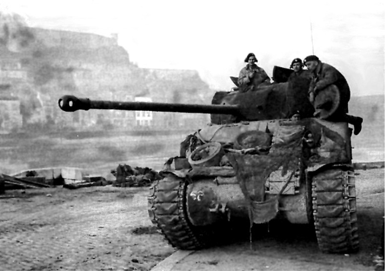 BRITISH FIREFLY TANK PATROLLING THE MEUSE AT NAMUR, WWII..jpg