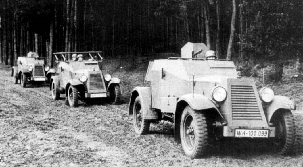 Two Kfz 13s armoured cars and a Kfz14 radio car (13th Cavalr.jpg