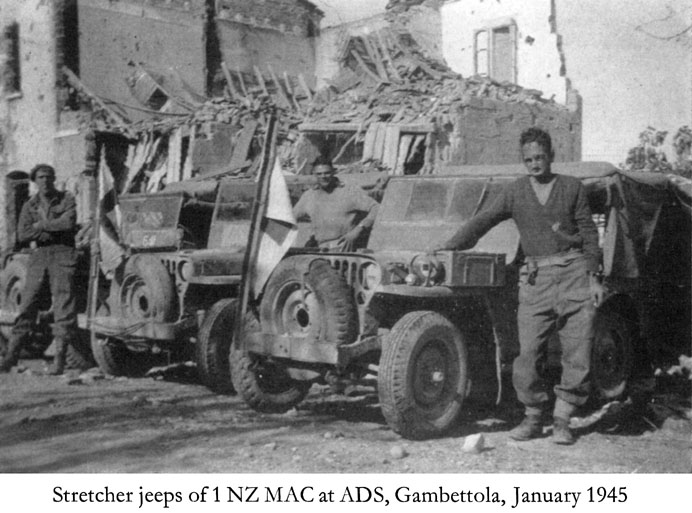 Stretcher jeeps of 1 NZ MAC at ADS, Gambettola, January 1945.jpg