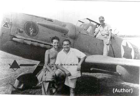 Pilots of 101 Sqd in front of D-120. From Right Bill Pomerantz, Giddy Lichtmam and on the wing Leon Frankel, Herzliya Jul 1948..jpg