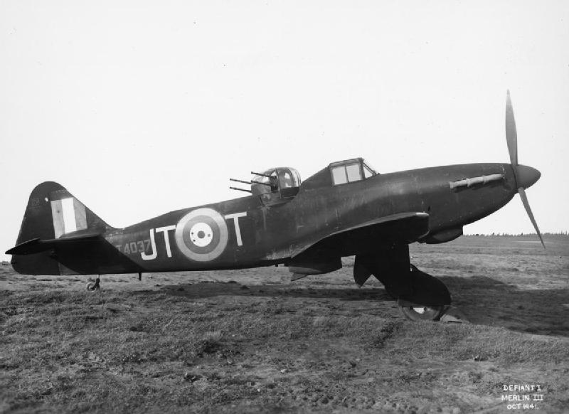 Defiant Mark I night fighter, T4037 'JT-T', of No. 256 Squadron.jpg