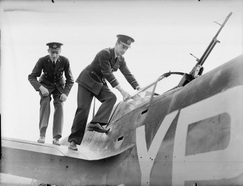 Air Chief Marshal Sir Charles Portal, Chief of the Air Staff, climbing into a Douglas Havoc (Intruder) Mark I of No. 23 Squadron RAF,.jpg