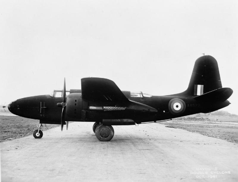 Havoc Mark II (Night Fighter), AH522, on the ground at the Burtonwood Repair Depot, Lancashire, following conversion from a Boston Mark II. AH522 served with No. 85 Squadron RAF,.jpg