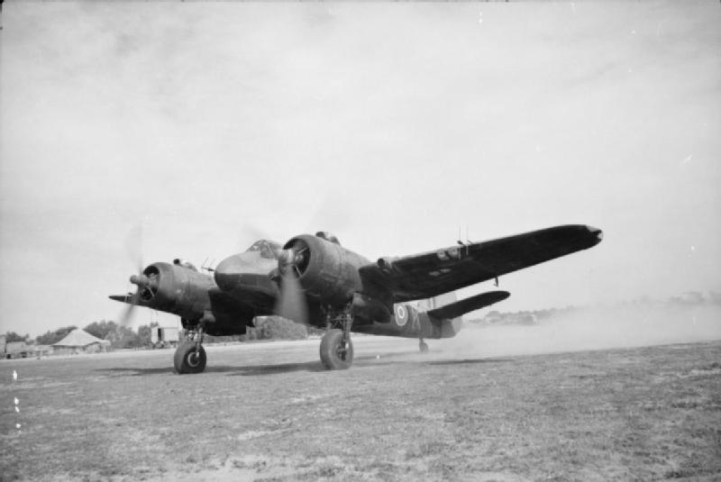 Beaufighter Mark VIF, V8380 'K', of No. 89 Squadron RAF, running up its engines at Castel Benito, Libya. This aircraft is equipped with AI Mark IV air-interception radar.jpg