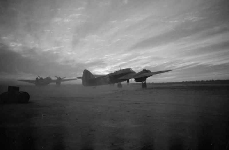 A Bristol Beaufighter Mark VIF of No. 89 Squadron RAF running up its engines at Castel Benito, Libya, before taking off on a night fighting sortie..jpg
