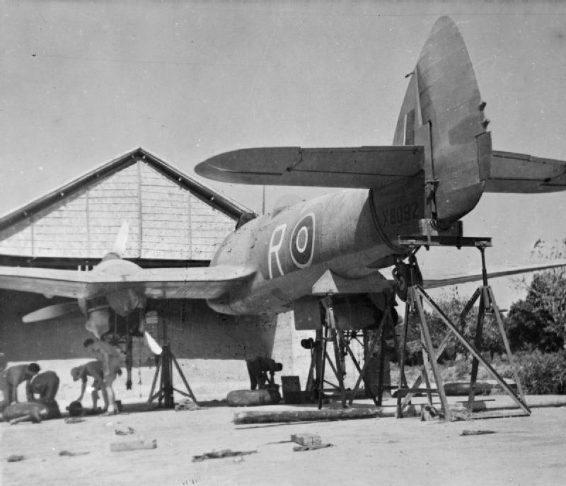 Bristol Beaufighter Mark VIF, X8092 'R', of No. 27 Squadron RAF, on trestles at the firing butts at Agartala, India, for cannon and machine gun alignment..jpg