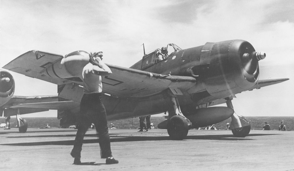 F6F-3N Hellcat aircraft of VFN-76 is on the deck of the USS Essex 5-10-1944.jpg