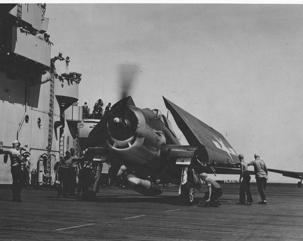 F6F-3N_VFN-76 is on the deck of the USS Essex.jpg
