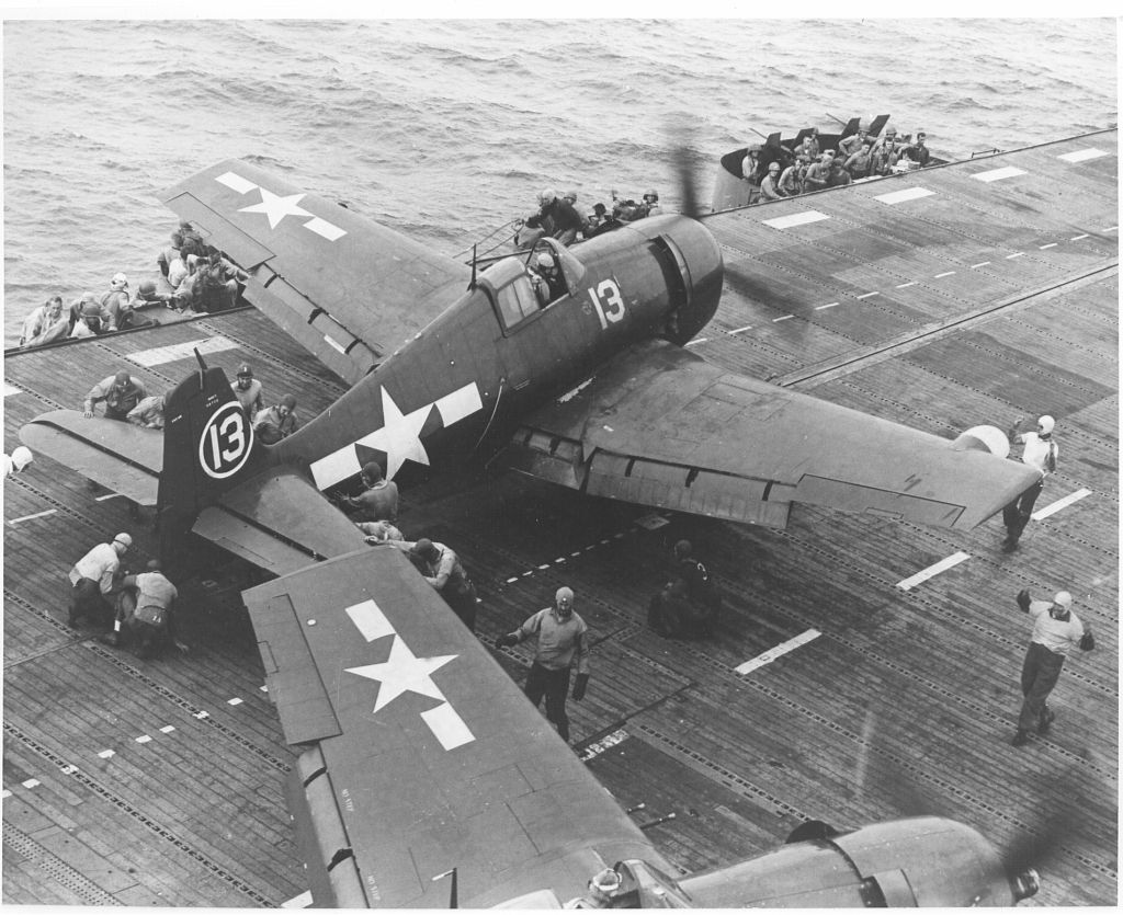 F6F-5N_VFN-41 being prepared to launch from the deck of USS Independence_10-10-44.jpg