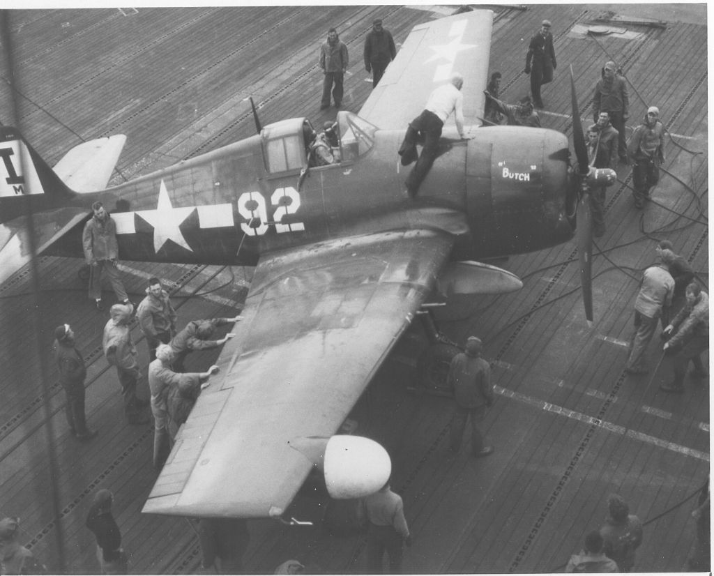F6F-5N_VMF-511 being positioned on the deck of USS Block Island_19-5-45.jpg